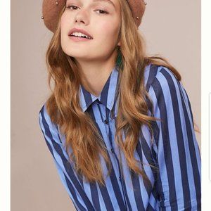 Anthropologie Maeve Lustered Button Down Top Med P